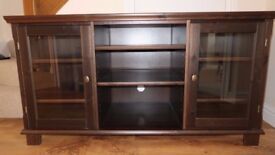 Modern dark wood large Ikea TV cabinet with cupboard storage and shelves