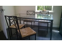 FREE TO COLLECT !!! DINING TABLE (Metal and glass) with 4 matching metal and rattan chairs