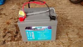 Golf trolly battery and charger.