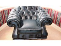 2 Leather Chairs and Footstool. Navy Blue Colour. Excellent condition. Will separate, also sofa