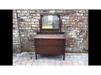Old Wooden Dressing Table/Chest Of Drawers With Carved Mirror Top - Can Deliver