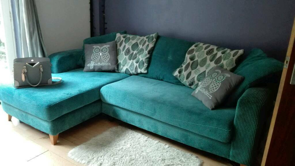 Dfs Teal Cushion Back Corner Sofa In Bradwell Norfolk