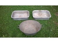 OLD TRADITIONAL ZINC OVAL BATH TUB AND TWO OBLONG TUBS IDEAL PLANTERS?
