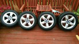 Ford 16 inch 5 stud alloy wheels and tyres
