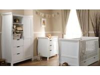 Almost new O baby Stamford white nursery furniture set