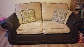 2 x suede/fabric sofa's in brown