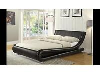 Italian Design Faux Leather Double Bed Frame