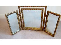 Vintage triple dressing table mirror