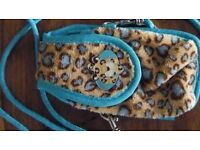 Nici Turquoise and Leopard print accessories Purse, Bag, Key Fob
