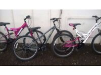 GIRLS MOUNTAIN BIKES 3 OF SUIT 8 TO 14 YEAR OLD £30 EACH CAN DELIVER