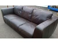 Real leather dark brown 3 seater sofa.