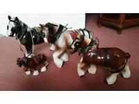 Ornamental Ceramic Shire Horses