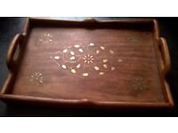 Wooden tray with metallic decorative inlay - Fairtrade