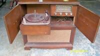 antique record player and radio