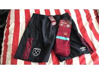 West Ham shorts and socks.