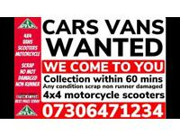 ♻️‼️SELL MY CAR VAN BIKE FOR CASH ANY CONDITION SCRAP DAMAGED NON RUNNING FAST COLLECTION TODAY X