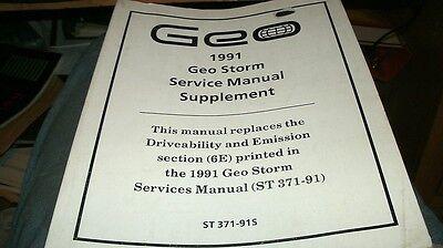 1991 Geo Storm Factory Shop Service Manual Supplement Original