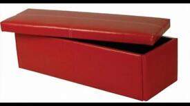 Red leather ottaman