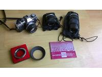 Olympus OM20 plus zuiko OM system lenses & reversing ring