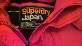 pink superdry jacket size s