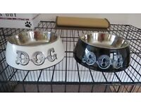 "Two 7"" Dog Bowls In Stands"