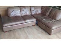 BROWN LEATHER CORNER SOFA, ARMCHAIR and FOOT REST