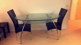 Glass table and 2 X chairs