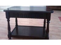 Dark oak coffee table - mid 20th century