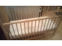 "Excellent condition pine cot [ babies""r""us] cot wth brand new slumberland matress"