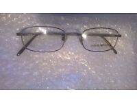 Emporio Armani Rectangular Pewter Spectacle Frames