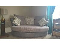 Grey Fabric 2 seater 'cuddlechair' & matching armchair