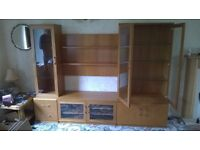 LOVELY QUALITY TEAK ILLUMINATED STORAGE AND DISPLAY CABINET WITH GLASS DOORS