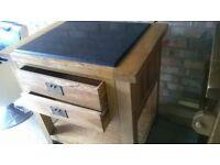 Oak kitchen island granite top