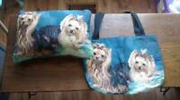 Yorkie pillow and matching bag