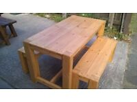 HAND MADE COFFEE/DINING TABLES,BEDS,DRESSERS,TV UNIT,SIDEBOARDS,GARDEN&PATIO BENCHES FROM £49 LOOK