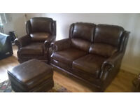Leather Sofa, Armchair and Footstool