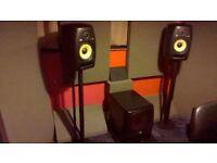 KRK VXT8 Active Studio Monitors + KRK 12S Subwoofer KRK 2.1 System Speakers