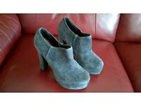 Suede high heeled ankle boots. New. Size 37