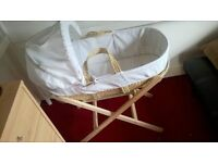 moses basket and stand, used once.