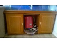 4ft by 2ft fish tank with wooden cabinet