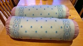2 Beautifully embroidered bolster long cushions with removable covers