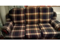 3 Seat Sofa in Blue Tartan
