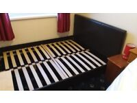 King Size Bed Brown Faux Leather