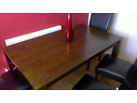 Dining table solid wood with 4 leather chairs