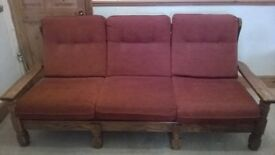 3 piece suite - Red wooden sofa and 2 x armchairs