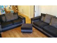 3 & 2 Piece Suede Leather Fabric Sofas with matching Pouf