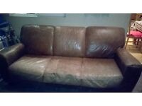 brown leather 3 seater sofa 210 x 85cm and 2 seater 150x 85cm