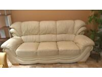 Large 3 seater cream leather sofa - FREE