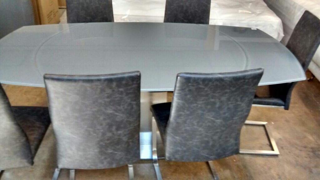 Designer Flow Swivel Gl Extending Dining Table 6 Chairs