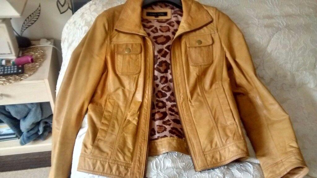 Ladies Size 12 Retro Style Leather Jacket Make Black Rivet Good